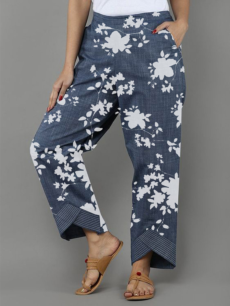Shi cotton printed casual closing pants