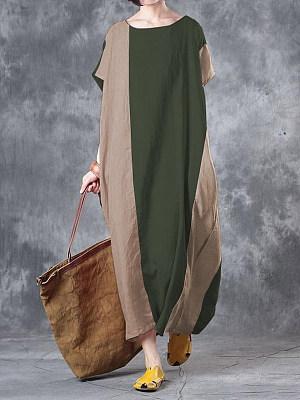 Berrylook Cotton And Linen Color Matching Loose Dress online shop, online shopping sites, long sleeve dress, floral maxi dress