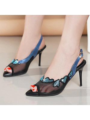 Women's Casual Colorblock Rhinestone Buckle High Heels