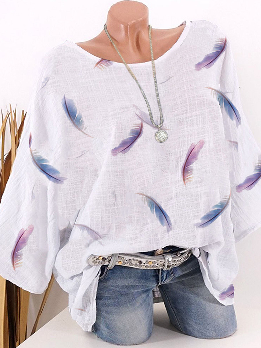 BerryLook Round Neck Feather Printed Half Sleeve Blouse