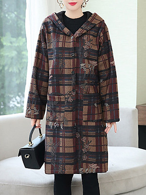 Women's Casual Plaid Midi Hooded Coat gender:female, season:autumn,winter,spring, collar:sweater with cap, texture:woolen, pattern_type:tartan, sleeve_length:long sleeve, sleeve_type:regular sleeve, style:japan and south korea, collar_type:hat collar, dress_occasion:daily, bust:106,clothing length:103,shoulder width:43,