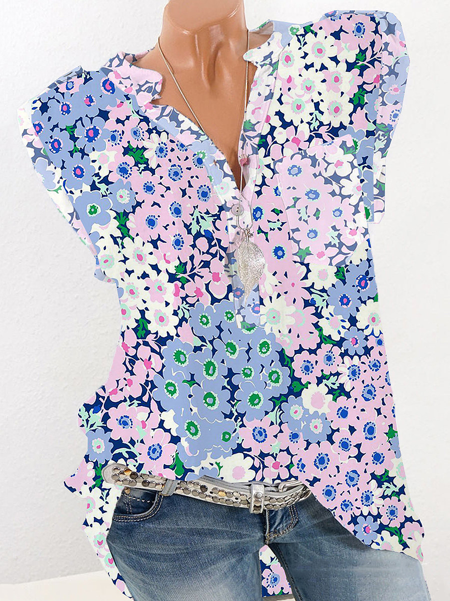 BerryLook Band Collar Floral Print Sleeveless Blouse