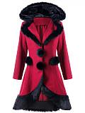 Image of Christmas Fur Collar Stitching Woolen Coat