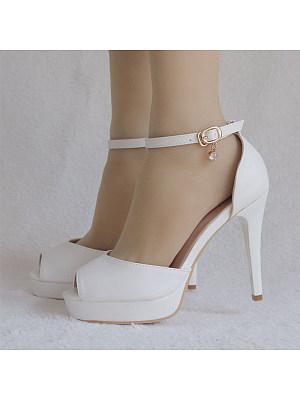 Platform white round toe stiletto sandals