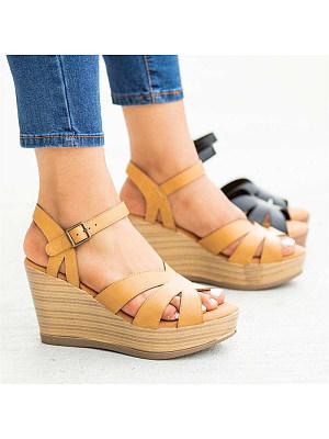 Wedge Buckled Open Toe Sandals, 11333909
