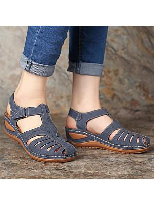 Retro non-slip cutout velcro wedge sandals, 11227937