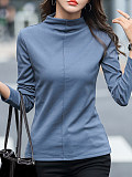 Image of Half High Collar Plain Long Sleeve T-shirt