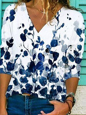 Ladies Fashion Plant Flower Print T-shirt