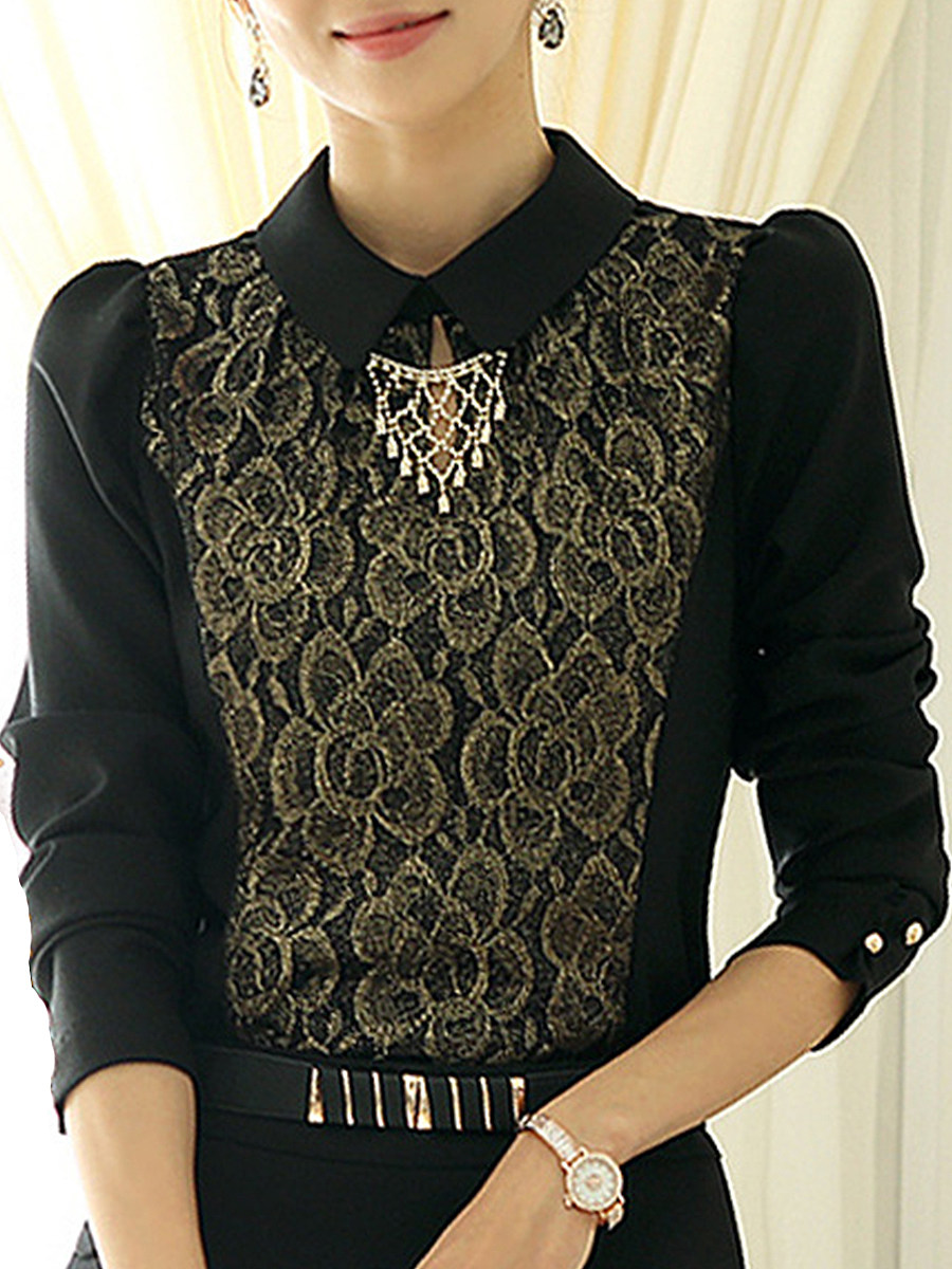 Turn Down Collar Elegant Lace Long Sleeve Blouse - from $19.95