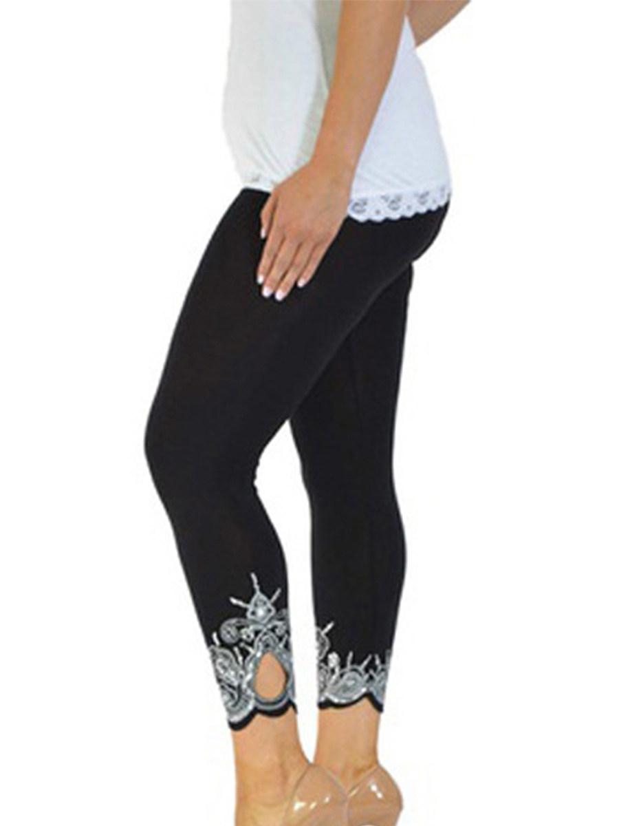BerryLook Slim slim printed nine-point leggings
