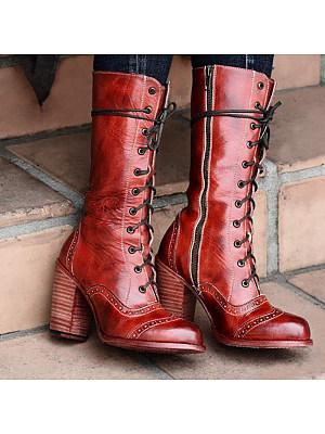berrylook Women's round toe thick heel boots
