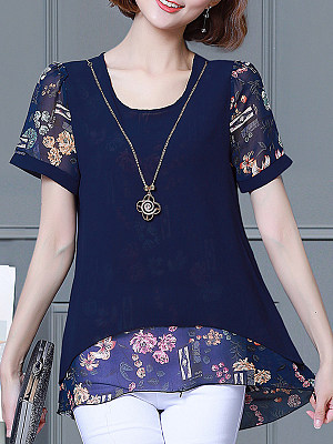 Round Neck Patchwork Floral Short Sleeve Blouse, 11205765