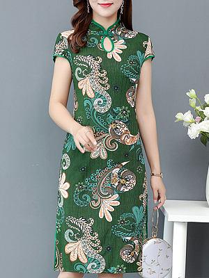 Fashion slim printed cheongsam dress