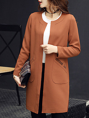 Fashion ladies pure color loose mid-length coat