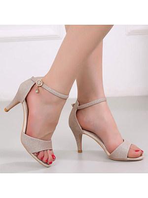 Fashion ladies peep-toe pure color buckle high-heel sandals