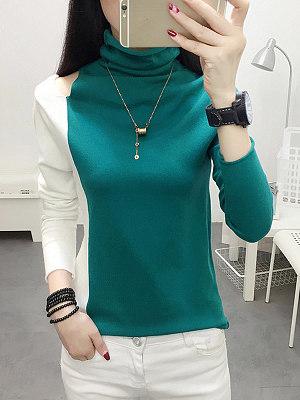 Short High Collar Color Block Cutout Long Sleeve Knit Pullover, 10586077