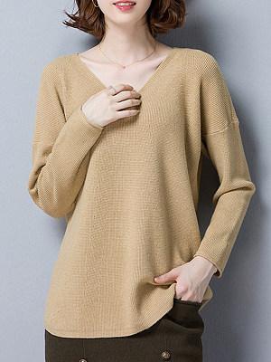 V Neck Elegant Plain Long Sleeve Knit Pullover, 10213084