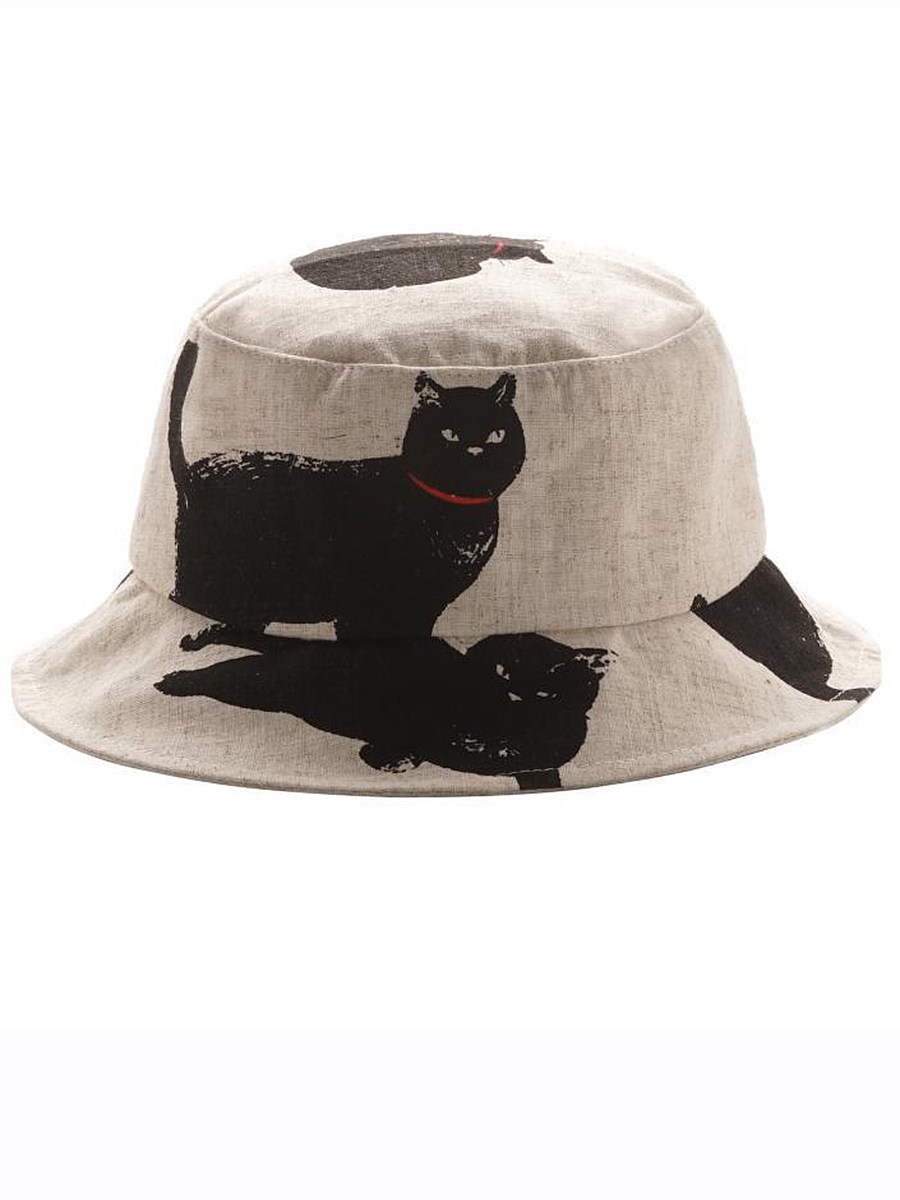 Casual cat cotton hemp fisherman hat