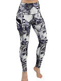 Image of Fashion printed high waist stretch casual yoga pants leggings