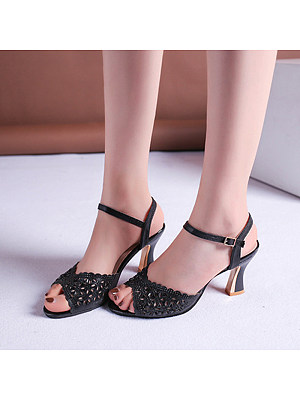 Fish mouth hollow high-heeled sandals