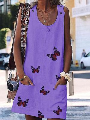 Berrylook New butterfly fashion print sleeveless dress shop, stores and shops, sleeveless shift dress, floral shift dress