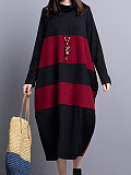 Image of Knit High Neck Long Sleeve Color Block Dress