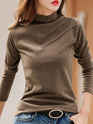 Patchwork Elegant Plain Long Sleeve T-Shirt, 10128330