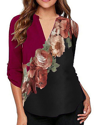 V Neck Floral Print Long Sleeve Blouse