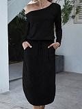 Image of Off Shoulder Long Sleeve Pocket Split Dress