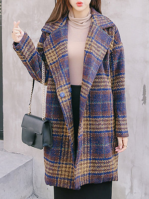 Women's Fashion Plaid Midi Woolen Coat gender:female, season:autumn,winter,spring, collar:lapel collar, texture:polyester, pattern_type:grid pattern, sleeve_length:long sleeve, sleeve_type:regular sleeve, style:japan and south korea, collar_type:suit lapel collar, dress_occasion:daily, bust:116,clothing length:88,shoulder width:58,