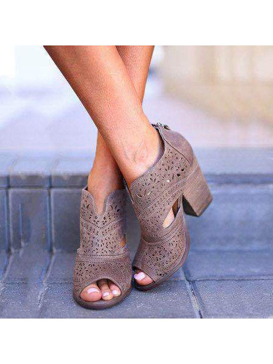 BerryLook Fashion Block Heel Open Toe Sandals