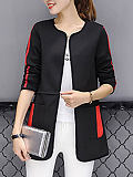 Image of Round Neck Long Sleeve Color Block Trench Coat