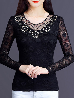 V Neck Patchwork Lace Long Sleeve T-Shirt, 10778182