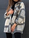 Image of Long Sleeve Lapel Loose Plaid Casual Jacket