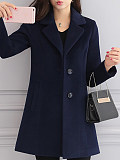 Image of Autumn and winter slim mid-length thin woolen coat women's woolen coat