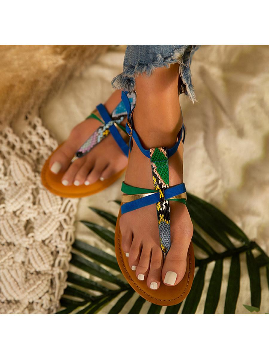 BerryLook Women's  Flat snake print sandals