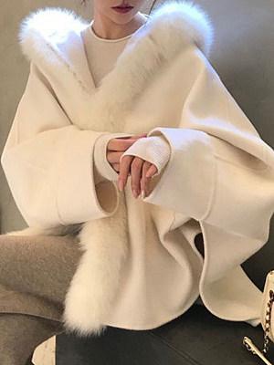 Womens Fashion Faux Fur Splicing Overcoat, 10712467
