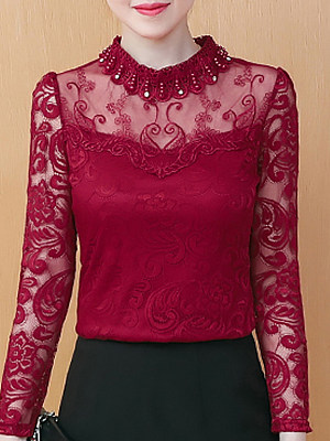 Band Collar Elegant Lace Long Sleeve T-Shirt, 10695593