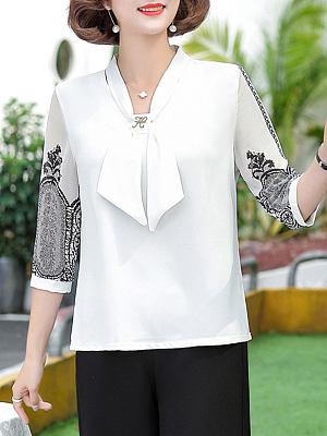 Fashion printed bow shirt