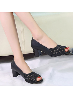 Women's Casual Pure Color Hollow Heels фото