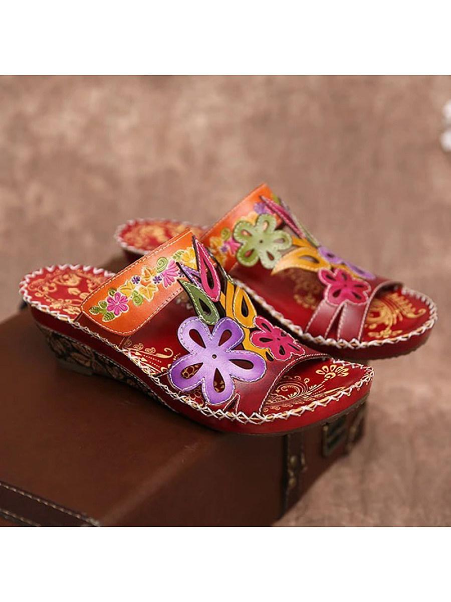 BerryLook Retro style Velcro flower wedge slippers