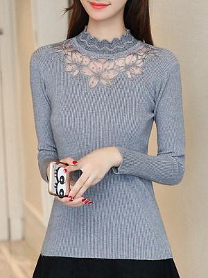 Short High Collar Elegant Lace Long Sleeve Knit Pullover, 10553698