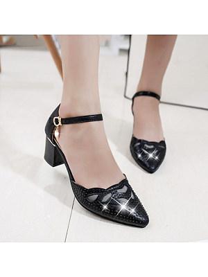 Women's Fashion Solid Color Cutout Buckle Heels фото