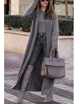 Berrylook coupon: Casual Solid Color Long-sleeved Long Woolen Coat