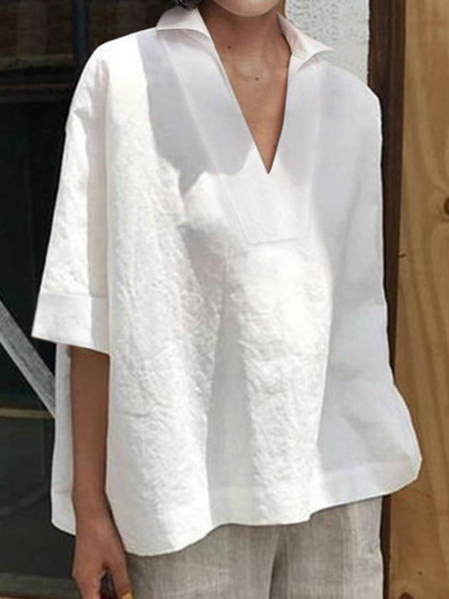 BerryLook Turn Down Collar Plain Short Sleeve Linen Blouse