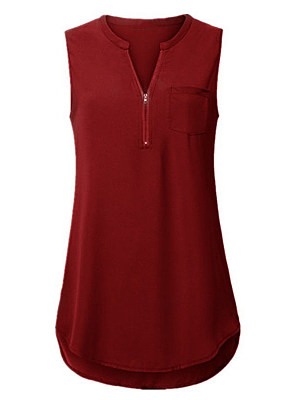 V Neck Zips Sleeveless T-shirt, 11417642