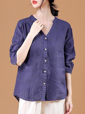 V Neck Loose Fitting Plain Long Sleeve Linen Blouse, 11565996