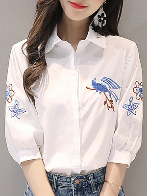 Fashion Embroidered Fold-over collar Blouse, 11166431
