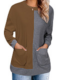 Round Neck Color Block Long Sleeve Knit Pullover
