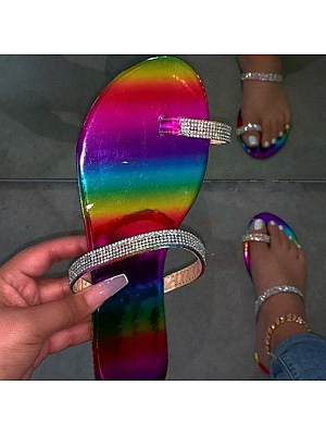 Flat Rhinestone Slippers, 23575034